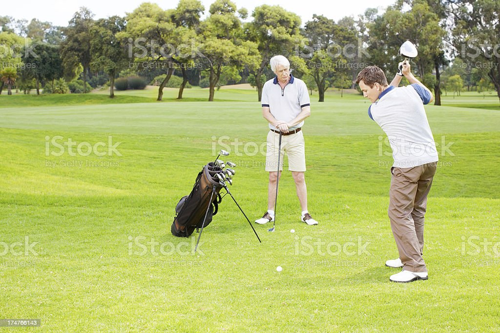 He's been practising his swing! royalty-free stock photo