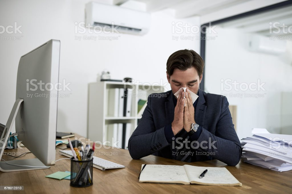 He's caught the flu stock photo