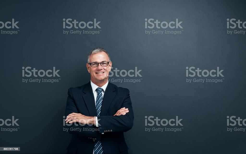 He's confident and in charge stock photo
