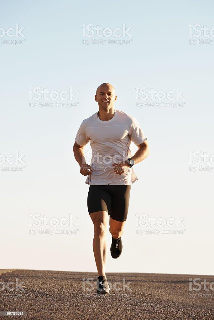 He's dedicated to the run stock photo