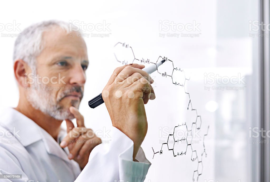 He's doing some cutting edge research stock photo