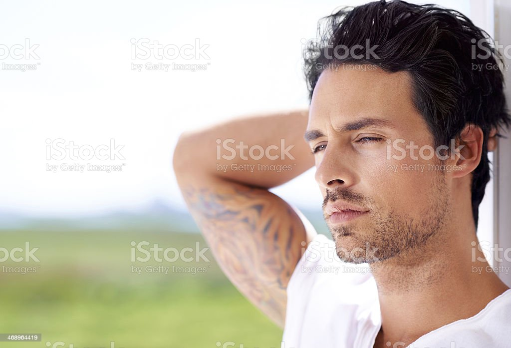 He's effortlessly sexy stock photo