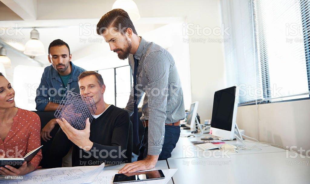 He's explaining his new idea royalty-free stock photo