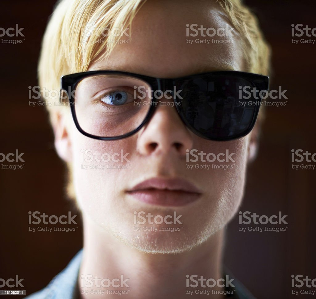 He's got a biased view of things stock photo