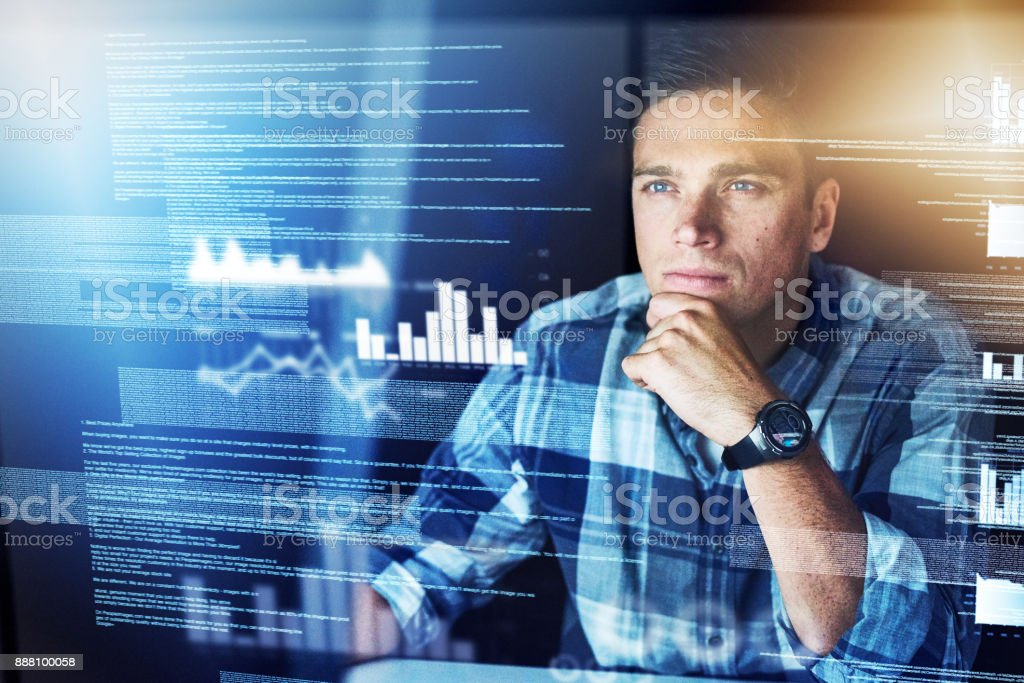 He's got a lot of information to shift through stock photo