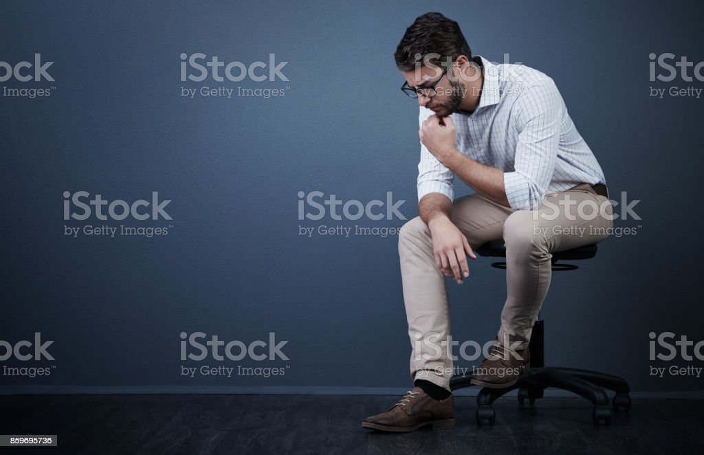 He's got a lot on his mind stock photo