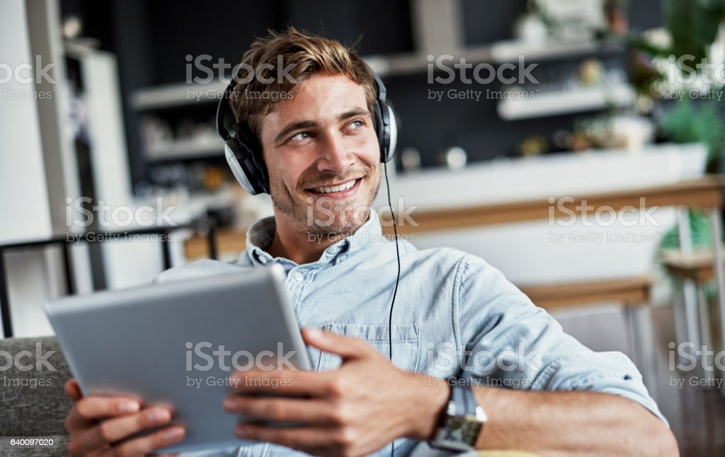 He's got all his favourite tracks in one place stock photo