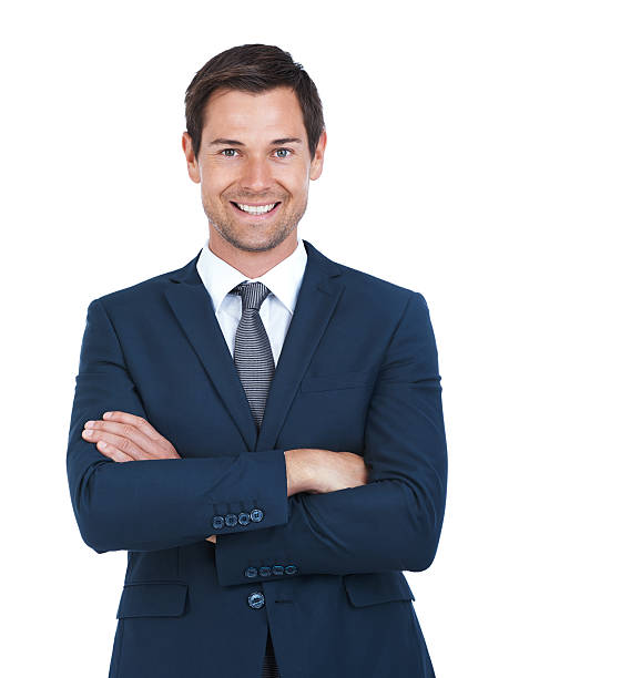 He's got business handled Cropped portrait of a handsome businessman standing with his arms folded isolated on white blazer jacket stock pictures, royalty-free photos & images