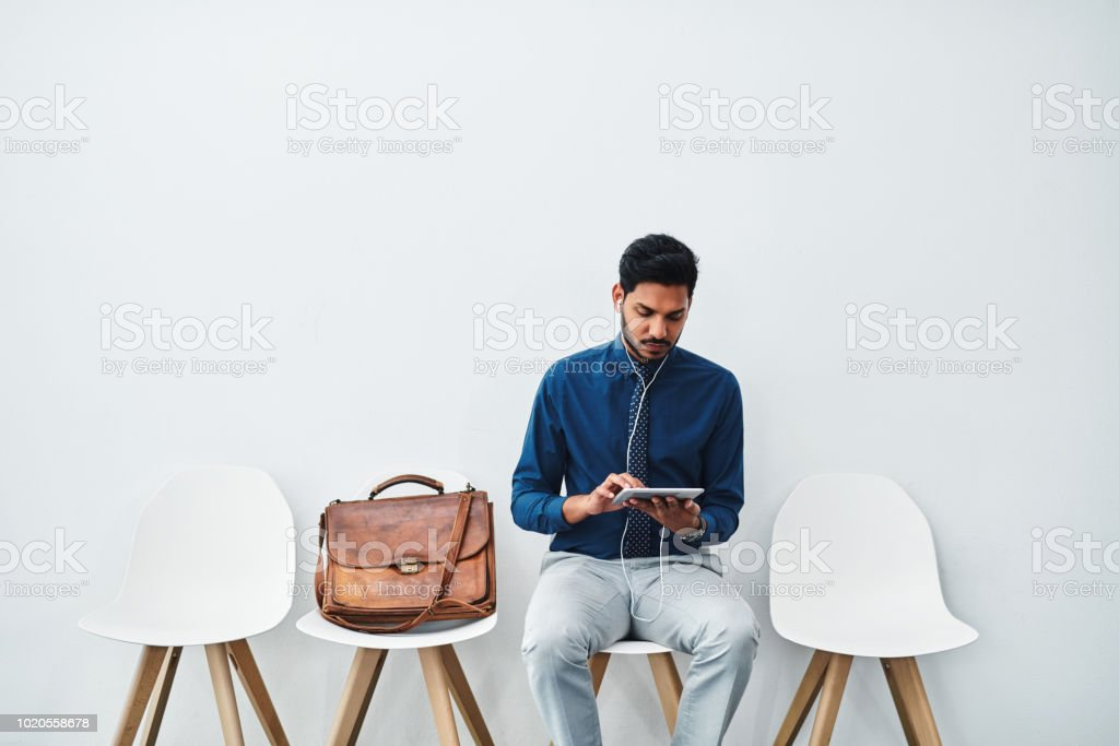 He's got his prep notes in digital format stock photo