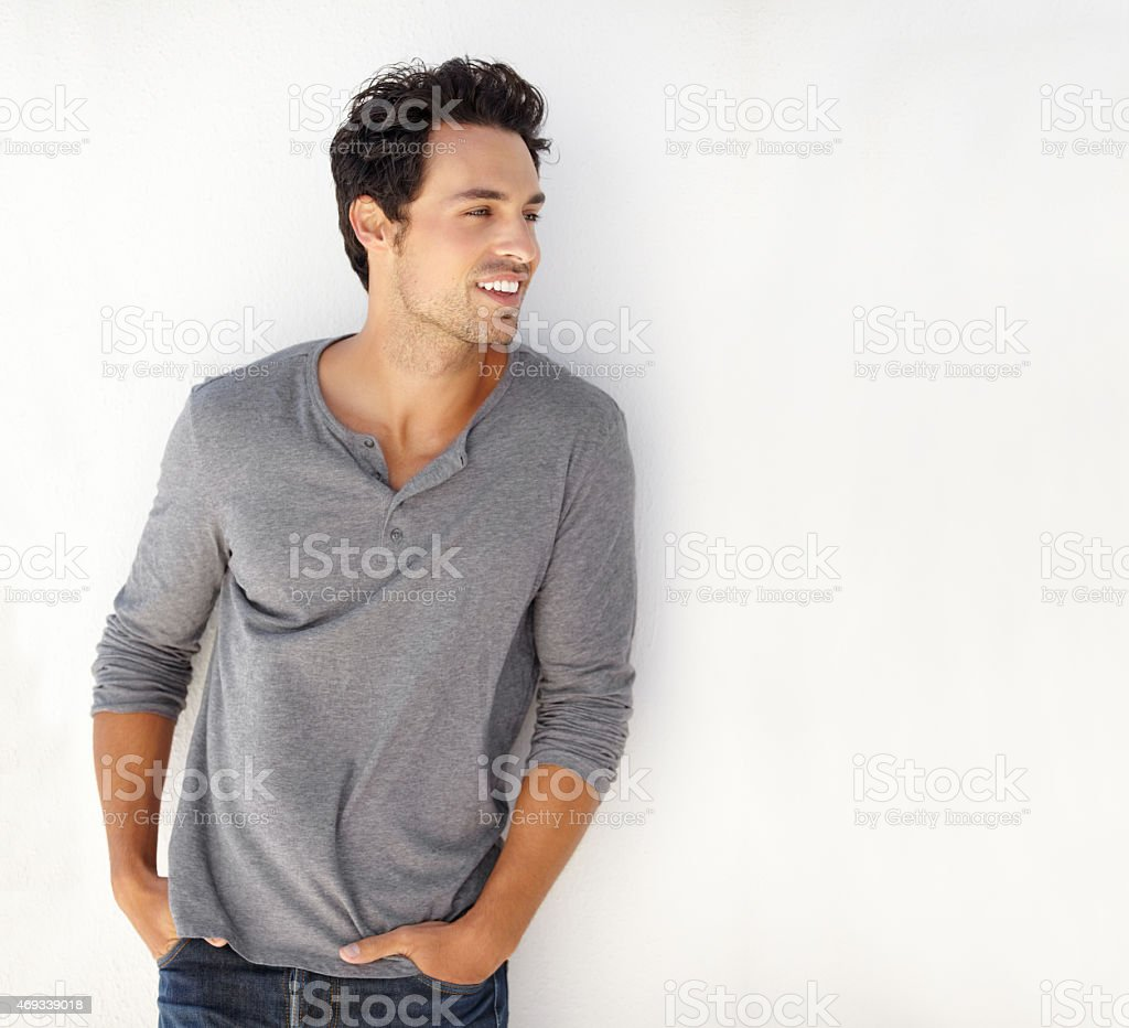 He's got it so he's flaunting it stock photo