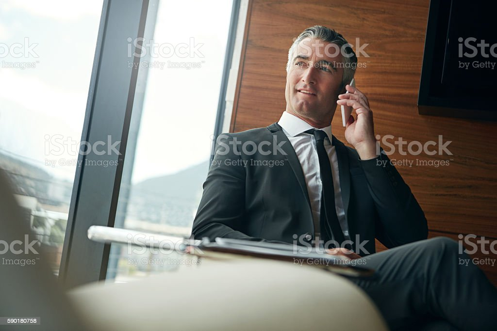 He's got lots of business connections stock photo