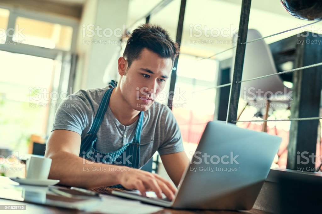 He's got orders streaming in stock photo