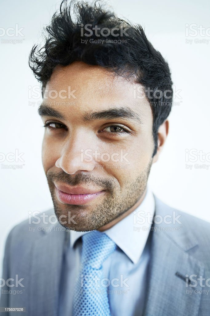 He's got the businessworld at his feet stock photo