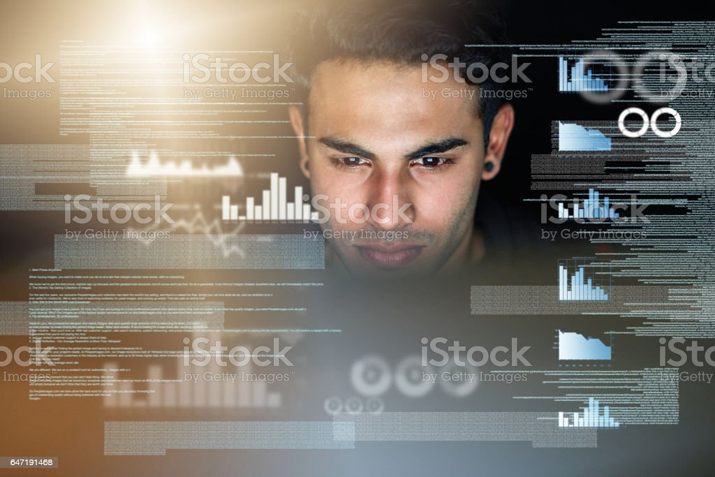 He's got the world at his fingertips stock photo