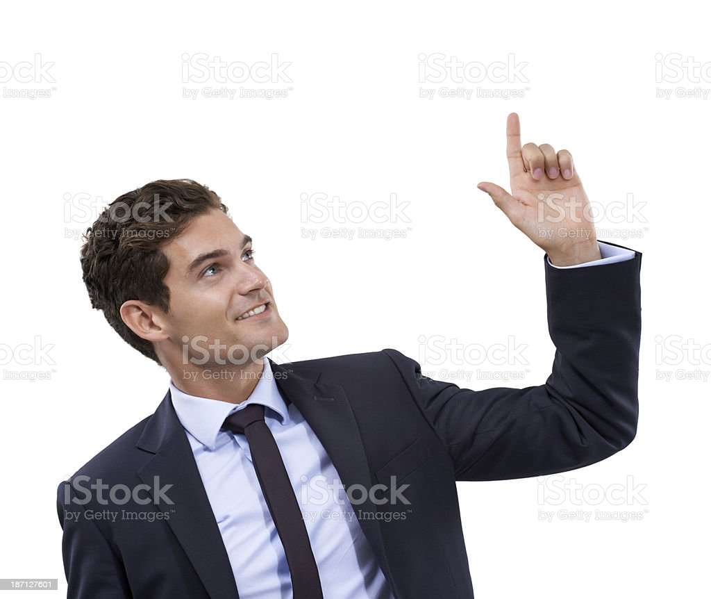 He's got your words on the tip of his finger royalty-free stock photo