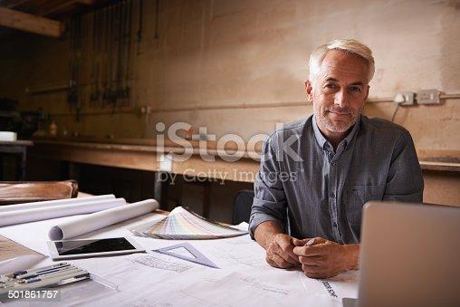 istock He's happiest in his workshop 501861757
