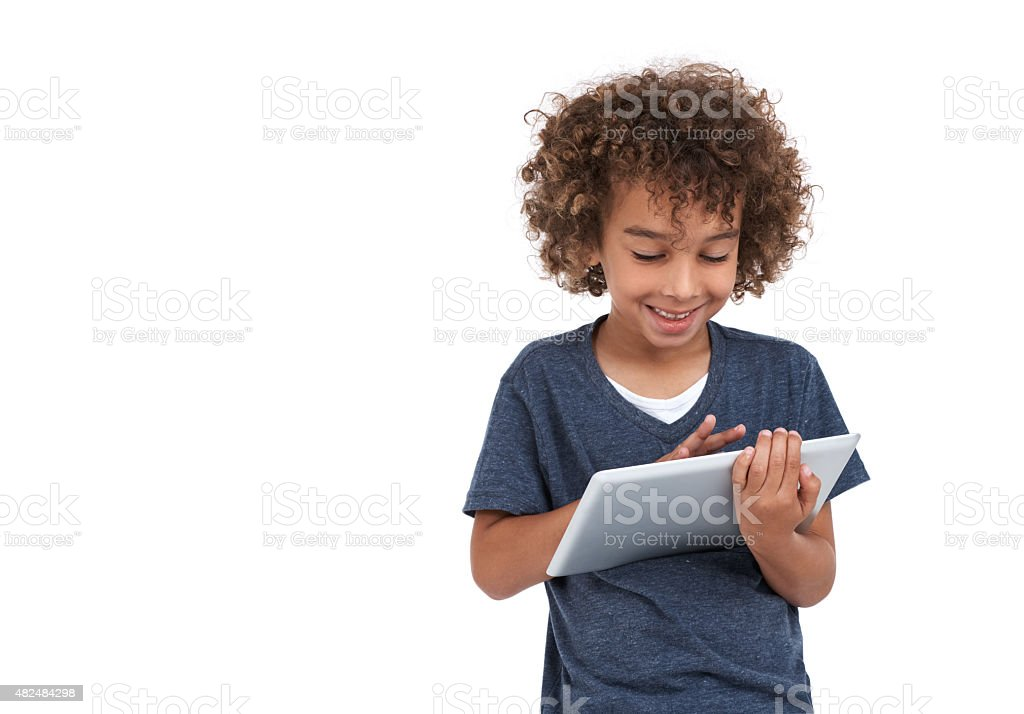 He's having fun with technology stock photo