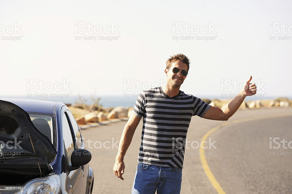He's hitching a ride stock photo