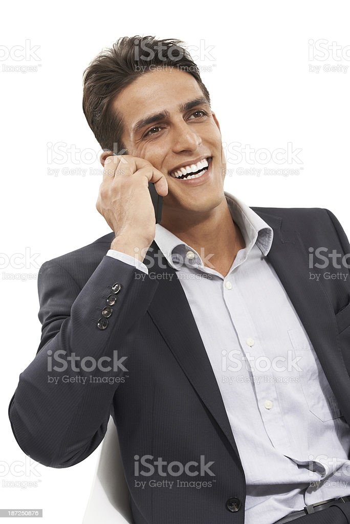 He's in constant communication with his business partners royalty-free stock photo