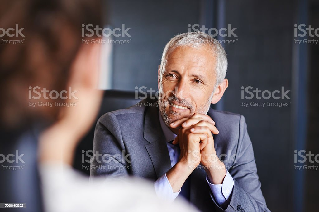 He's interested in her thoughts stock photo
