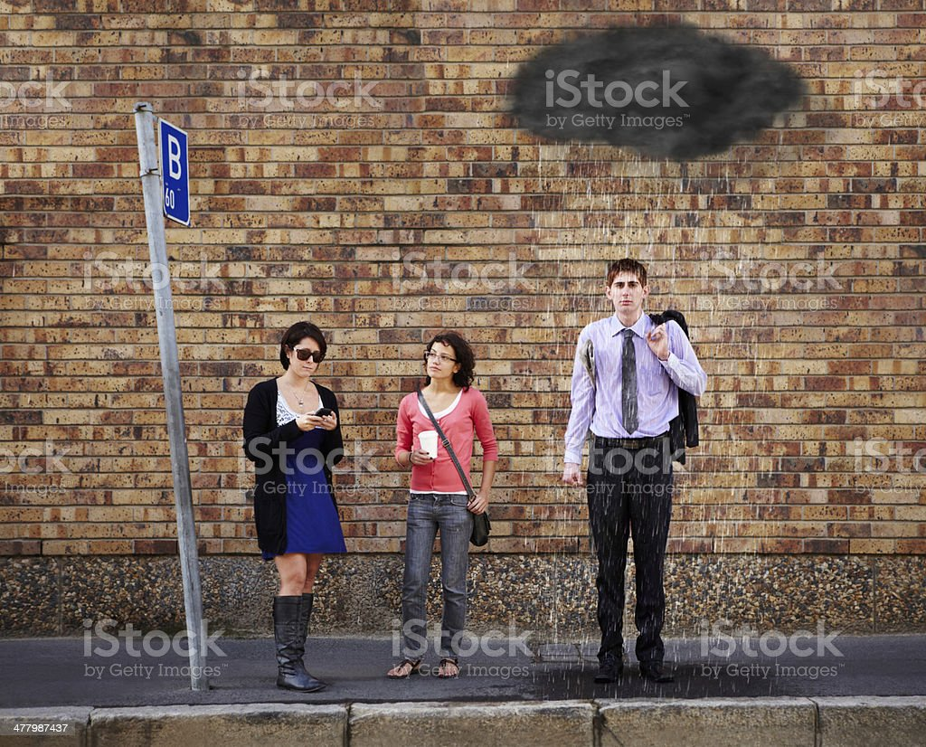 He's just got a bad feeling about today.... stock photo