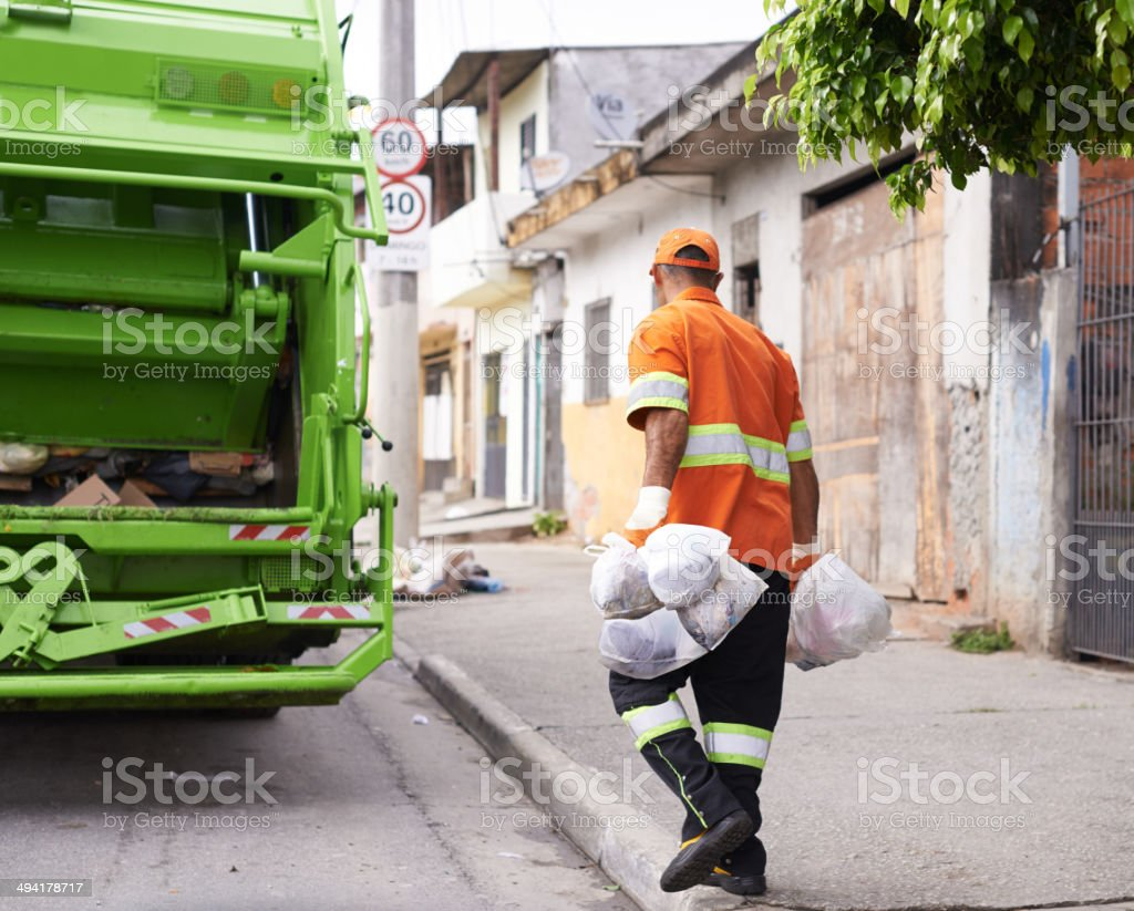 He's keeping our streets clean stock photo
