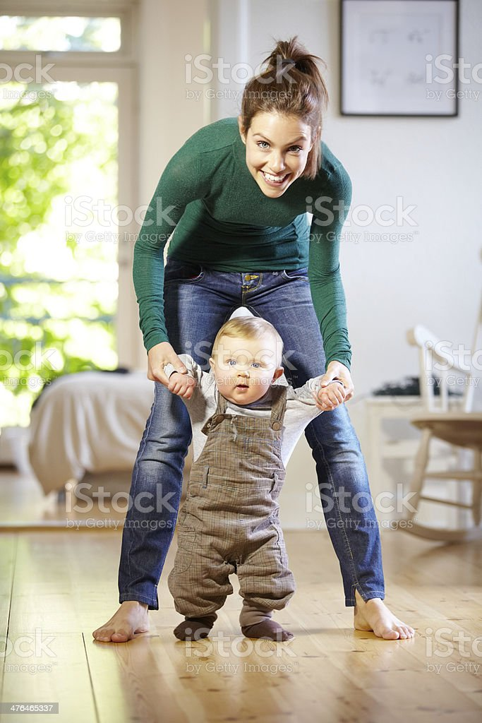 He's learning so fast! stock photo