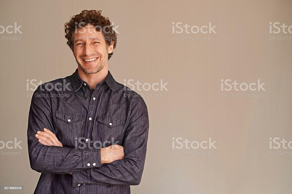 He's looking good and feeling confident stock photo