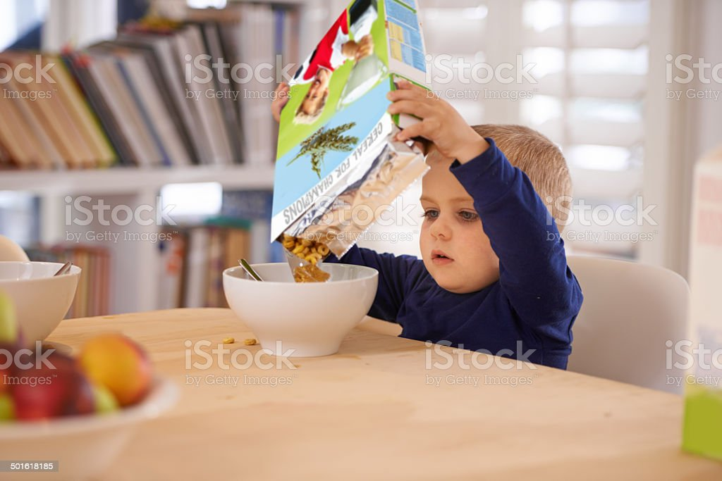 He's making his own breakfast stock photo