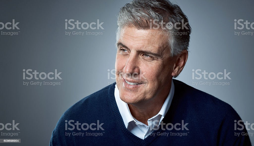 He's mindful of how good life has been stock photo
