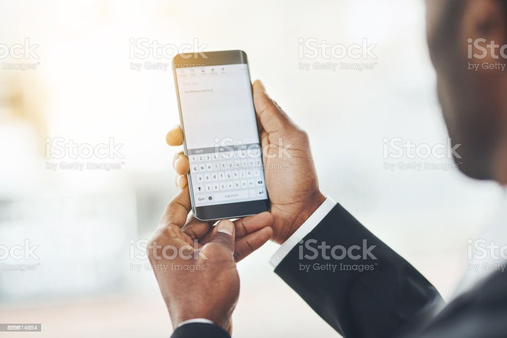 He's mobile but always in reach stock photo