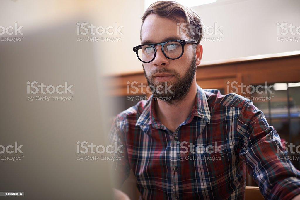 He's one tech-savvy dude stock photo