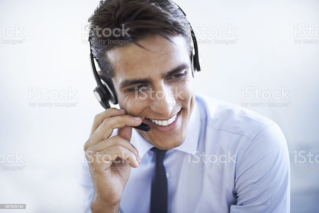 He's pleased to have helped you! stock photo