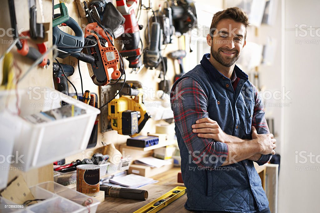 He's prepared for any project stock photo
