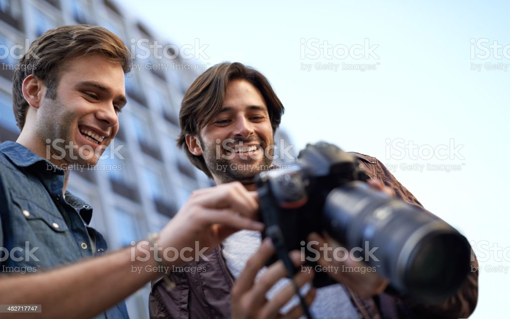 He's proud of his photographs stock photo