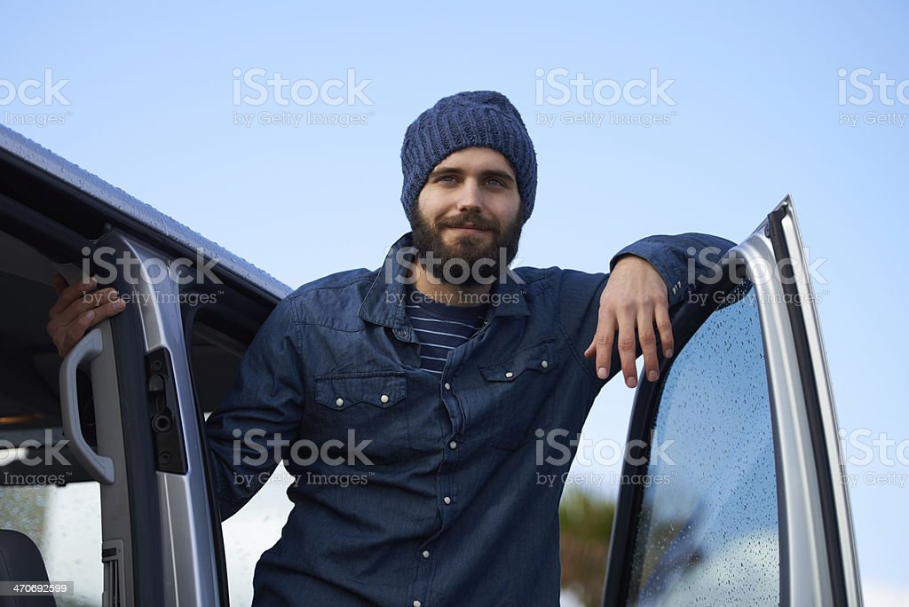 He's ready for the open road stock photo