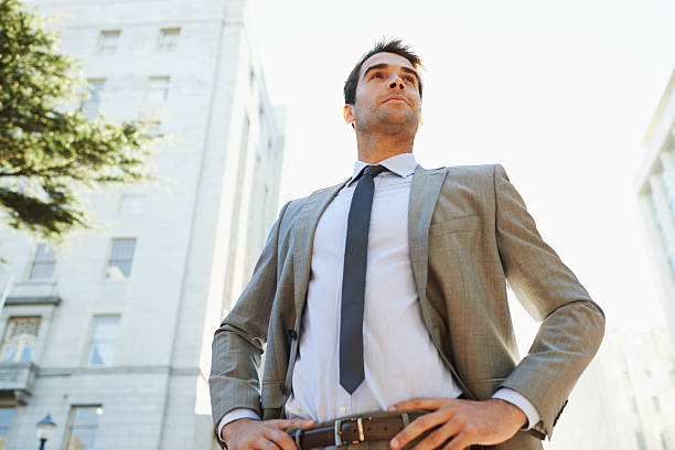 He's ready to conquer Wall Street! stock photo