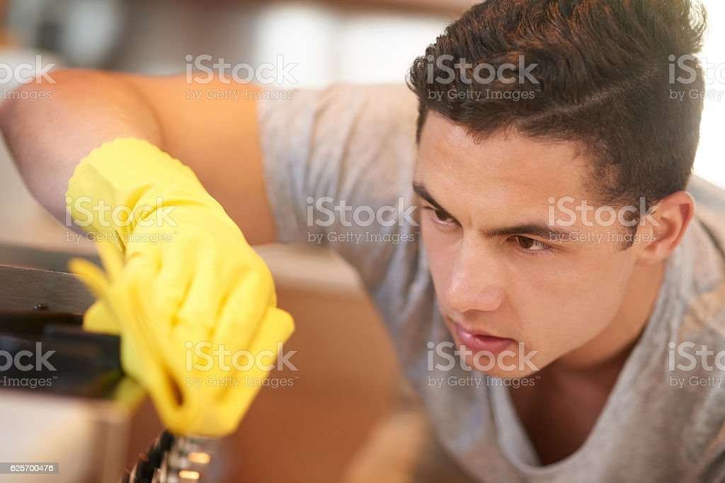 He's serious about clean surfaces stock photo