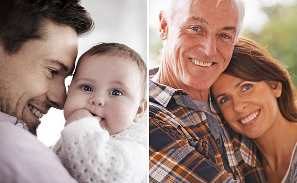 He's such an amazing and proud father stock photo
