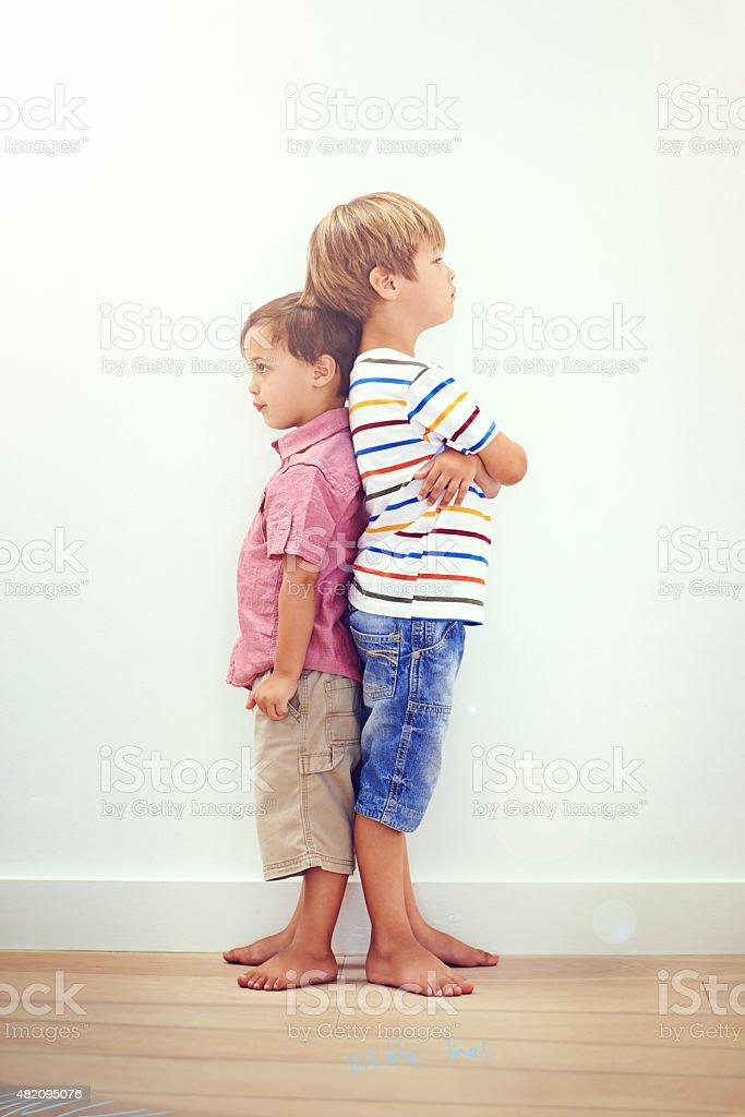 He's taller than me stock photo