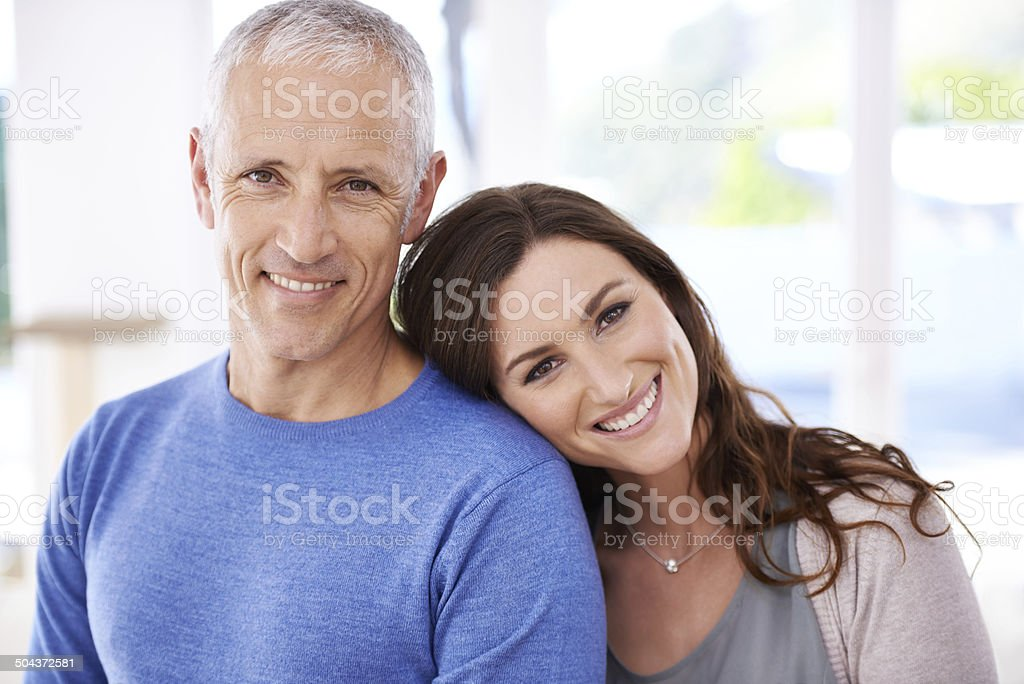 He's taught me the true meaning of happiness stock photo