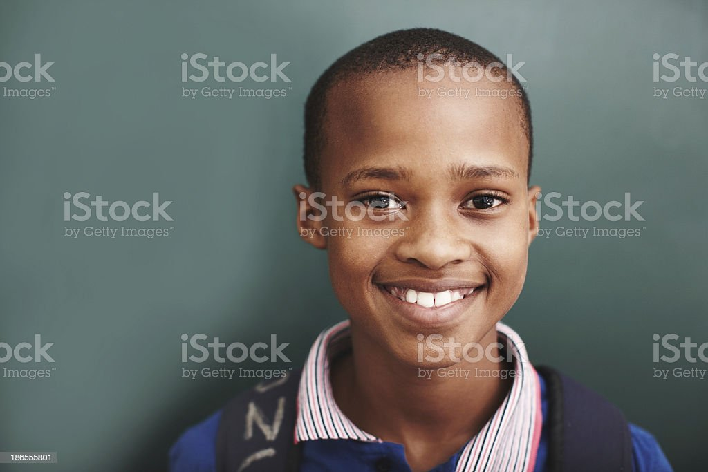 He's the bright star in his classroom stock photo