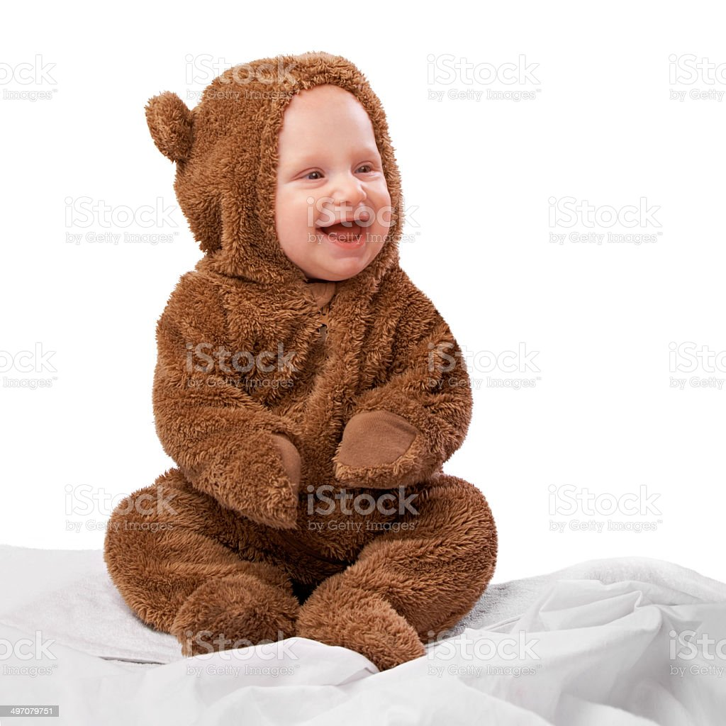 He's the happiest teddy ever stock photo