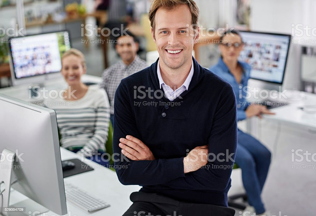 He's the manager that holds it all together stock photo