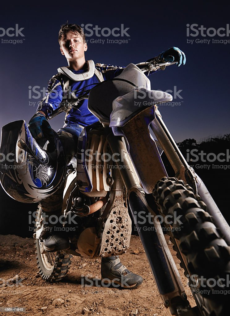 He's the poster boy for dirtbiking stock photo