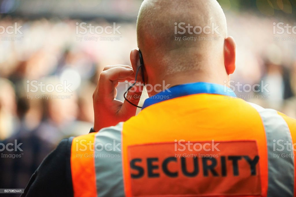 He's there for your protection stock photo