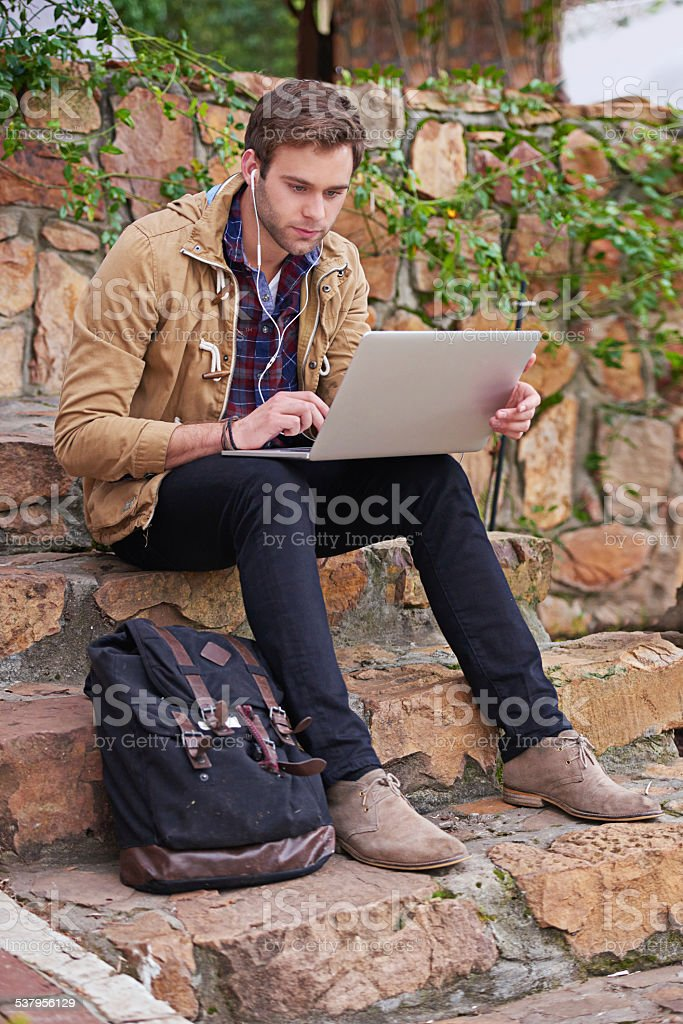 He's worked hard to get into this university stock photo