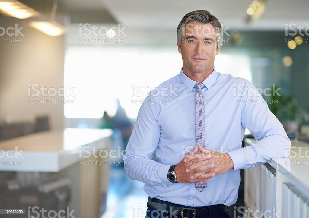 He's working his way to the top stock photo