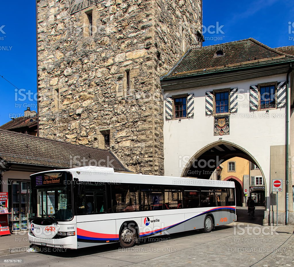 Hess bus in Aarau, Switzerland stock photo