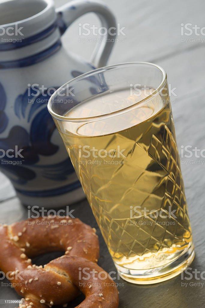 Hessian Cider and Jug, Bembel, Aeppelwoi, Aeppler, Apfelwein royalty-free stock photo